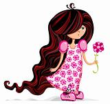 Little girl with flower.