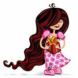 Little girl with gift box.