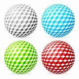 Spherical cubes set.
