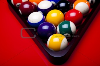 Billiard balls isolate on red