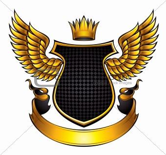 Classic style winged emblem.