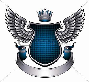 Classic style metallic winged emblem.