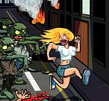 Cartoon Zombies chasing terrified young woman