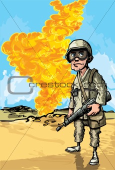 Cartoon Soldier in desert conflict.
