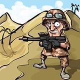Cartoon soldier in the desert