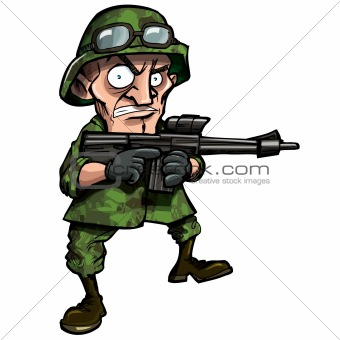 Cartoon soldier isolated on white