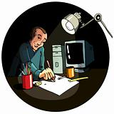 Cartoon of an artist working