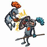 Two cartoon knights fighting