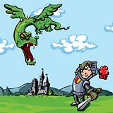 Cartoon knight attacked by a dragon
