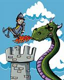 Cartoon knight burnt on his bum by a dragon