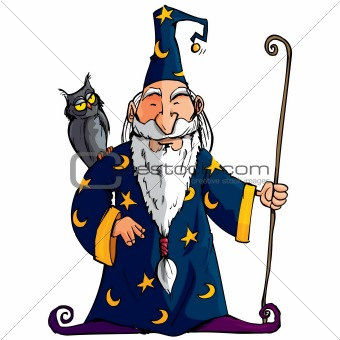 Cartoon Wizard with a staff