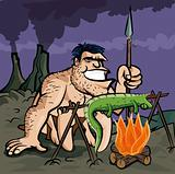 Caveman cooking a lizard over an open fire