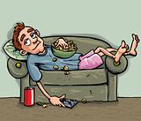 Cartoon teen relaxing on the sofa
