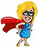 Cartoon superhero office worker lady