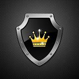 Shield with crown. Vector.