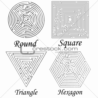 four mazes shapes against white