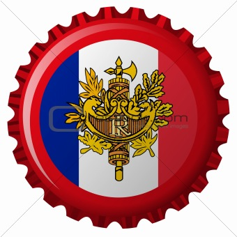 france abstract flag on bottle cap