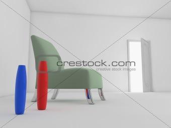 Chair with open door