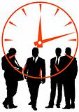 Businessmen in background of clock