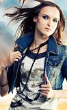 Young woman in jeans jacket