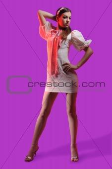 beautiful brunette in an elegant dress