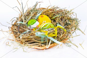 Closeup basket with colorful Easter Eggs