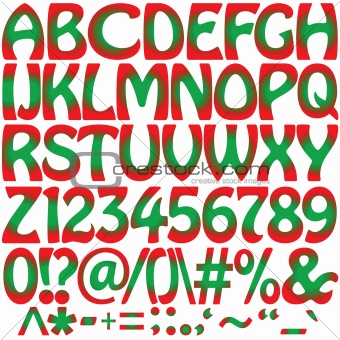 green and red alphabet