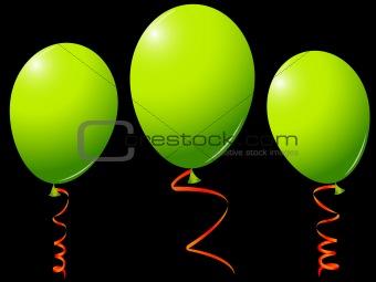 green balloons against black