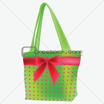 green retro hand bag