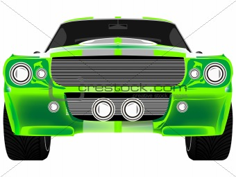green sport car front isolated on white