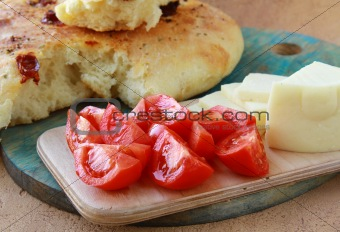 Tomatoes and cheese, bread a simple meal for lunch