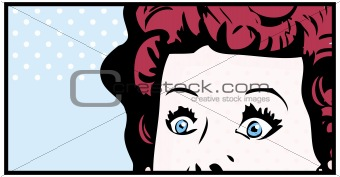 Cropped woman face pop art comic banner with Eyes Wide open