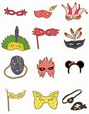 cartoon party mask icon