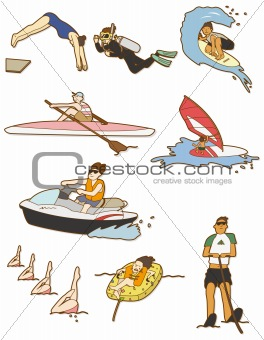 cartoon water sport icon