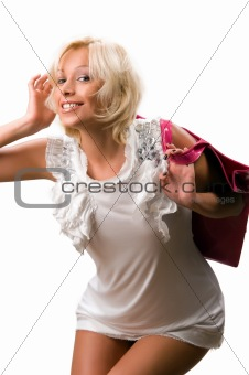 beautiful young woman with a pink handbag