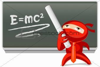 Red ninja wearing a tie, math equations on chalkboard