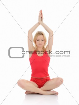 Beautifu fitness woman doing yoga meditation pose.isolated