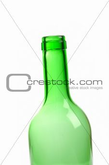 one empty green wine bottle isolated on white background