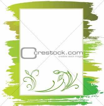 announcement with green flower and brush, vector background