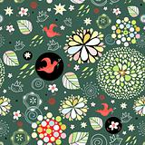 spring floral pattern with red birds
