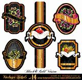 Vintage Labels Black&Gold Version  - Set 14