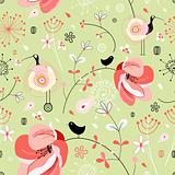 Flower texture with birds