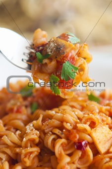 close up shot of pasta