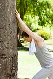 Man doing his stretches in the park