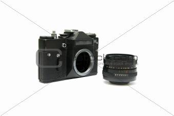 analogue SLR camera and lens