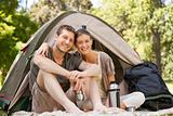 Couple camping in the park