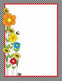 Flowers and Checks Border