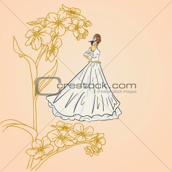 brides girls  on a floral background