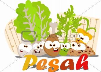 Cute cartoon passover foods