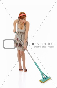 Beautiful angry house woman cleaning the floor. isolated